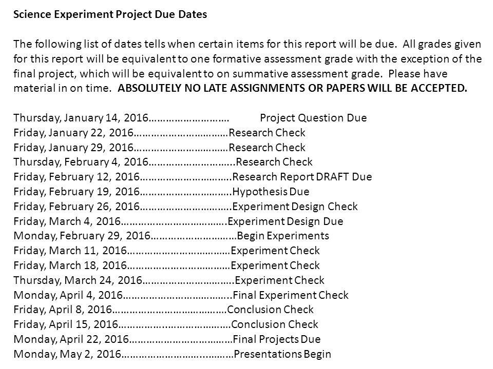 Science Project Assignment #1. Handouts Parent Letter Assignment