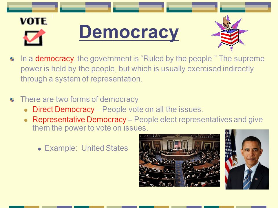 is democracy a possible form of government Democracy, in modern usage, is a system of government in which the citizens exercise power directly or elect representatives from among themselves to form a governing body, such as a parliament democracy is sometimes referred to as rule of the majority.