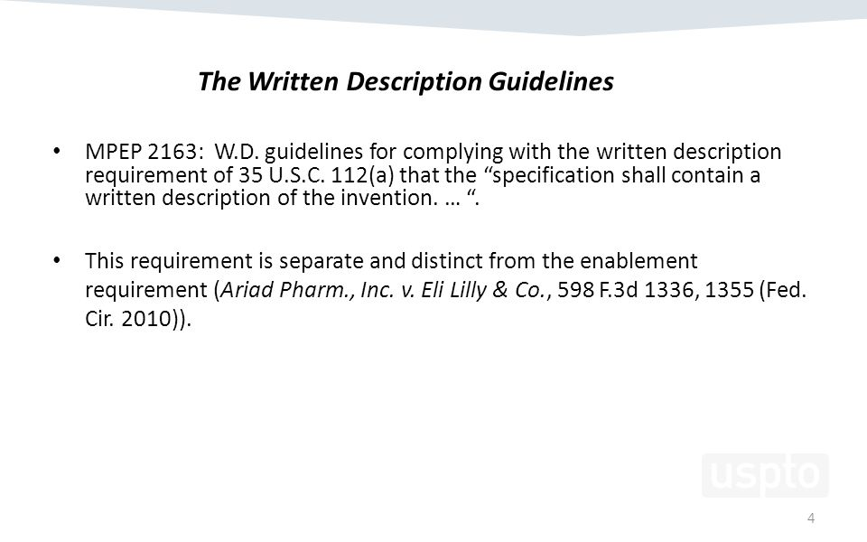 MPEP 2163: W.D. guidelines for complying with the written description requirement of 35 U.S.C.