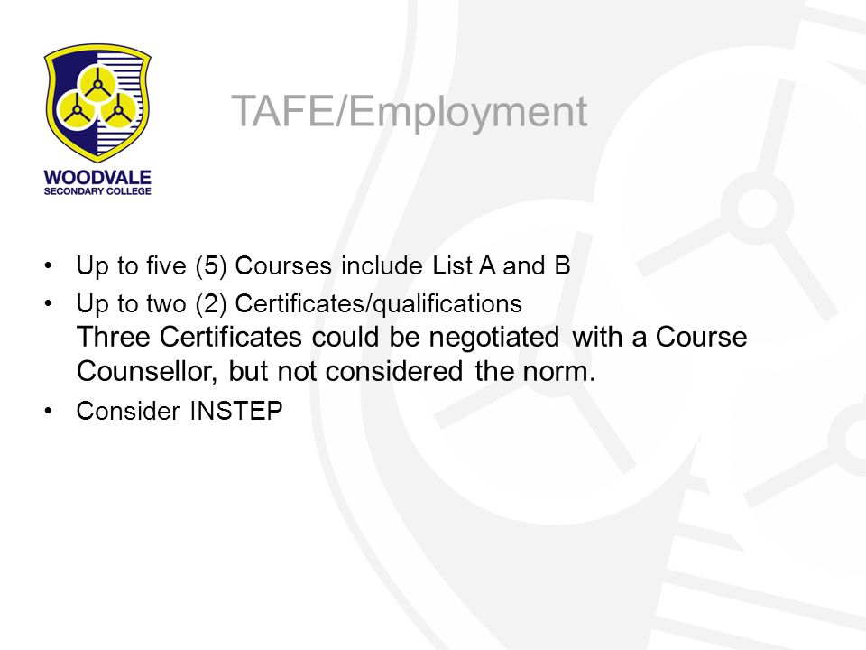 Up to five (5) Courses include List A and B Up to two (2) Certificates/qualifications Three Certificates could be negotiated with a Course Counsellor, but not considered the norm.