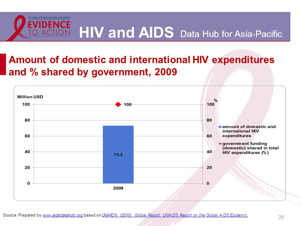 HIV and AIDS Data Hub for Asia-Pacific Amount of domestic and international HIV expenditures and % shared by government, 2009 28 Source: Prepared by www.aidsdatahub.org based on UNAIDS.
