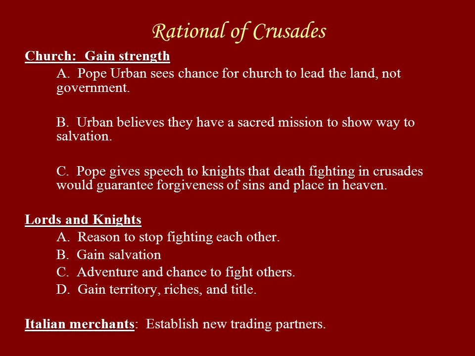 Read pages and write down one reason for each listed group on your notes to join the crusades.