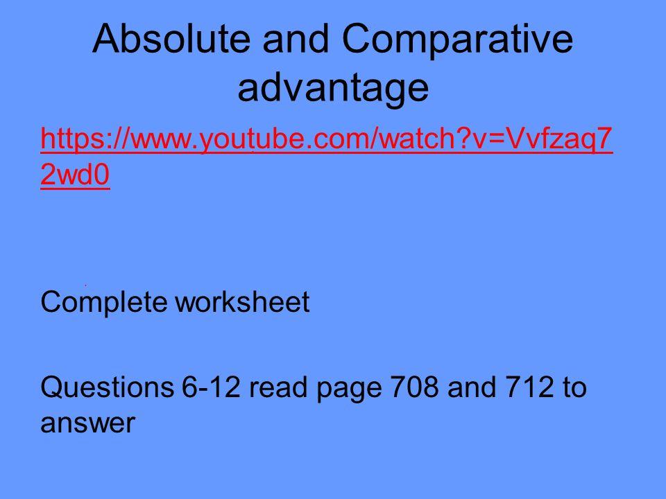 Unit 7 TRADE International Trade Vocabulary Free Trade Trade – Comparative Advantage Worksheet
