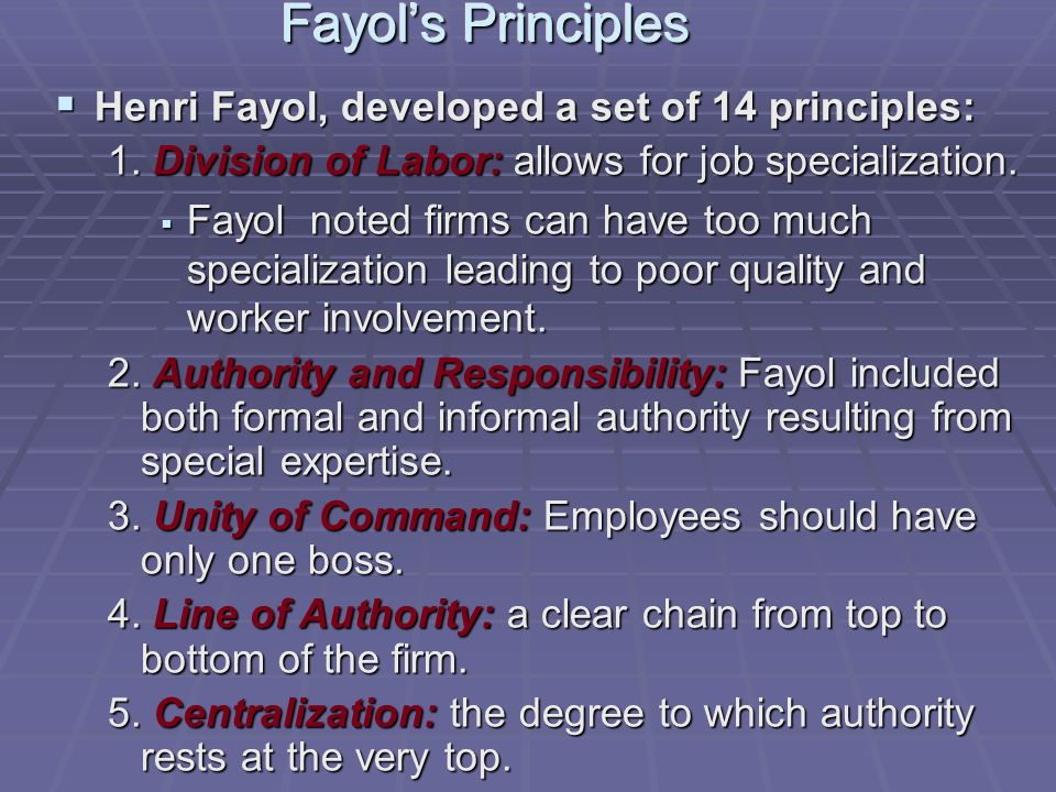 Fayol's Principles  Henri Fayol, developed a set of 14 principles: 1.
