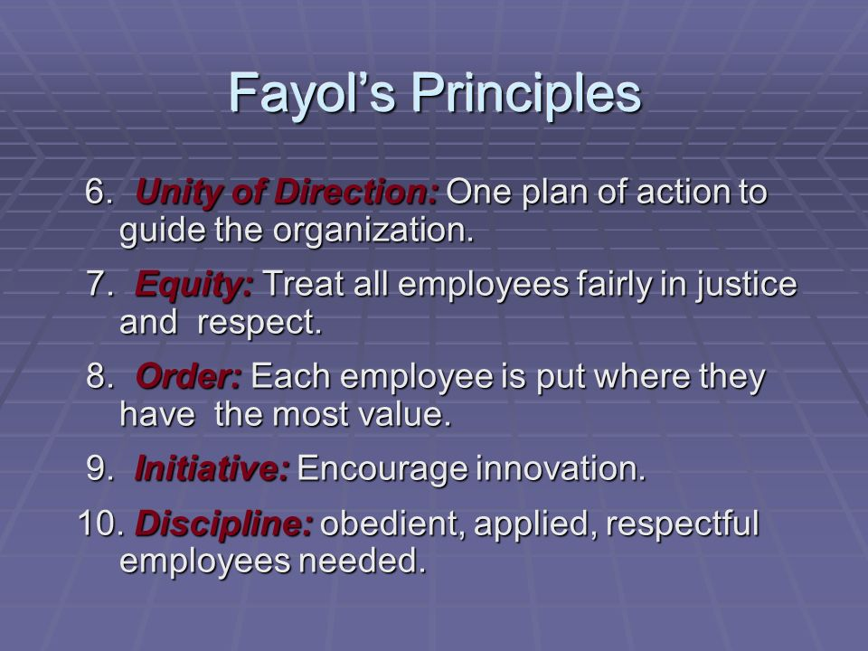 Fayol's Principles 6. Unity of Direction: One plan of action to guide the organization.