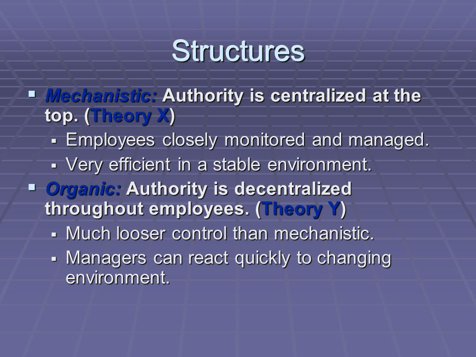 StructuresStructures  Mechanistic: Authority is centralized at the top.
