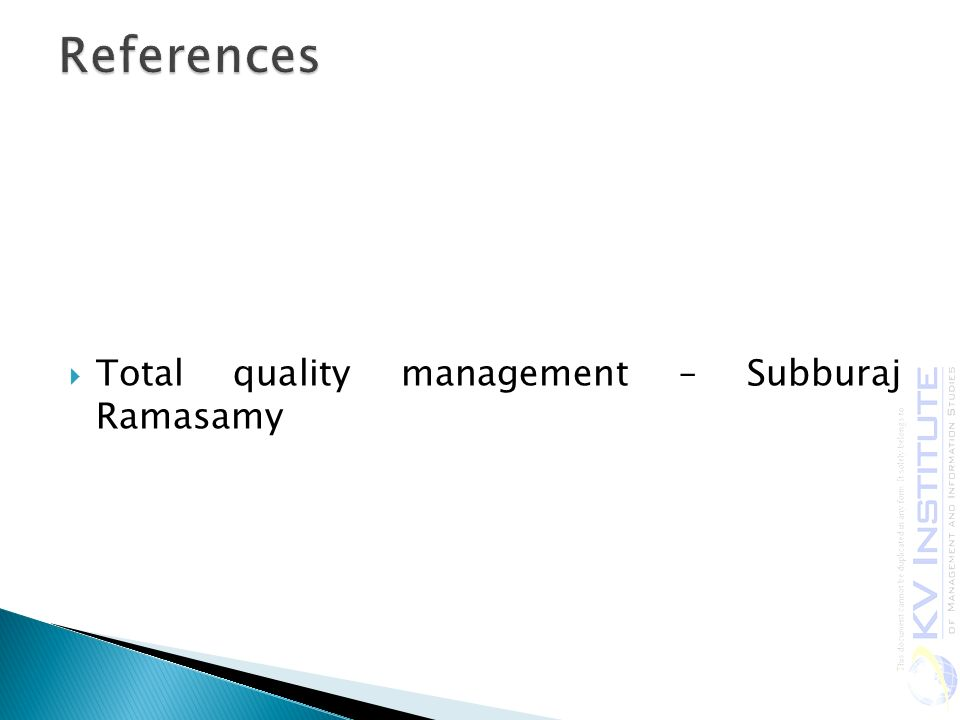  Total quality management – Subburaj Ramasamy