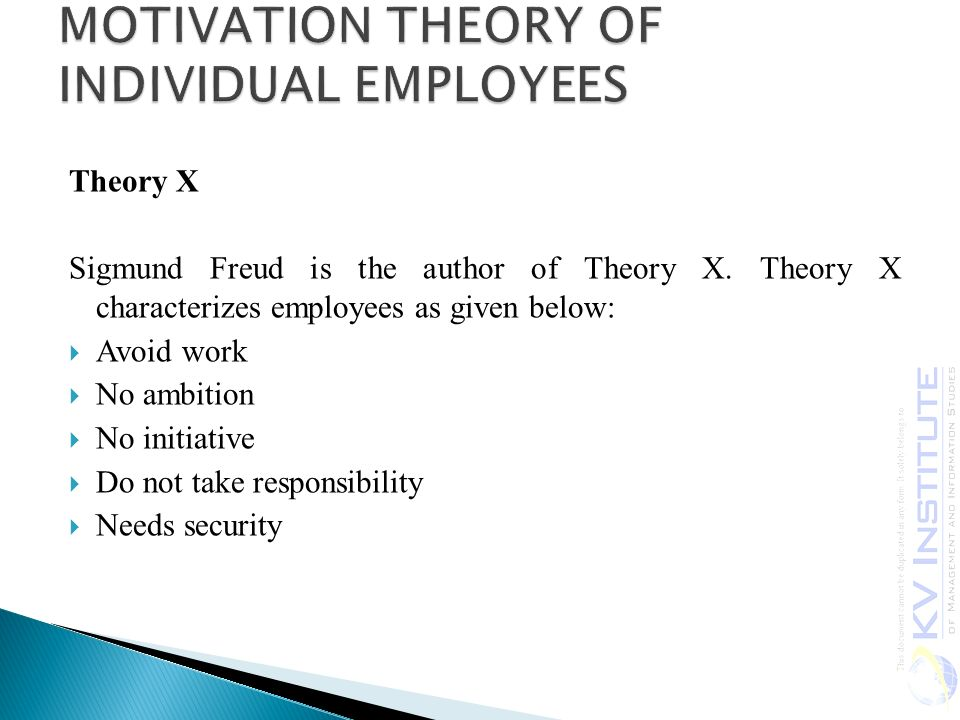 Theory X Sigmund Freud is the author of Theory X.