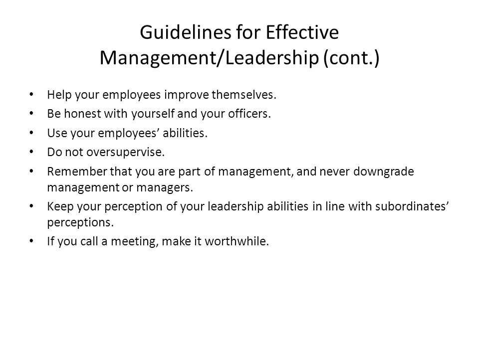 Guidelines for Effective Management/Leadership (cont.) Help your employees improve themselves.