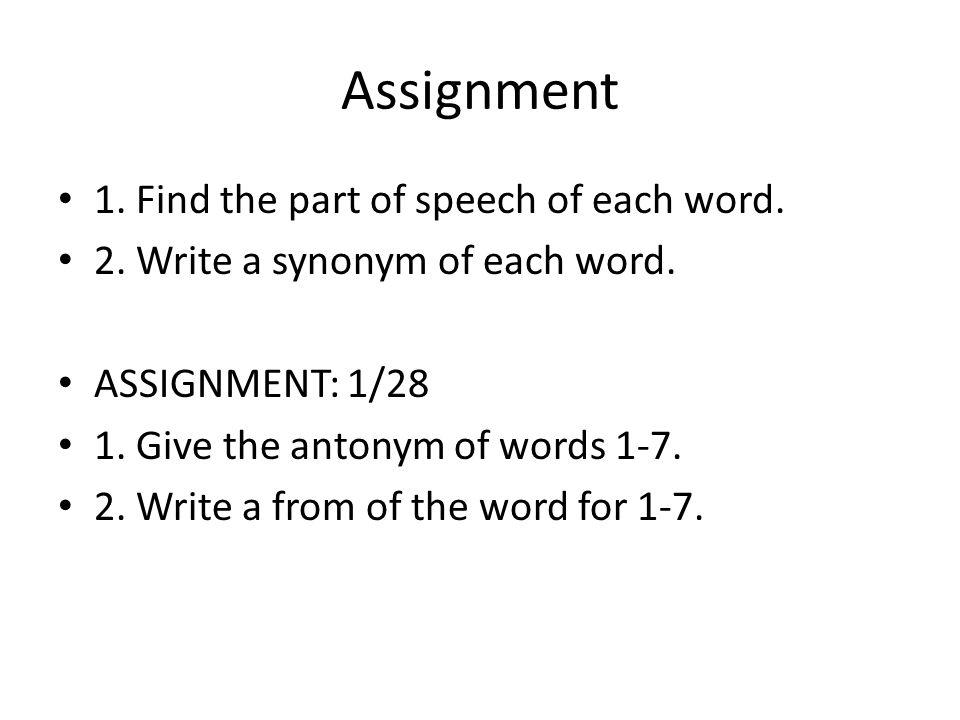 assign synonym