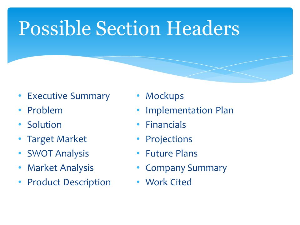 Business Plan. Possible Section Headers Executive Summary Problem