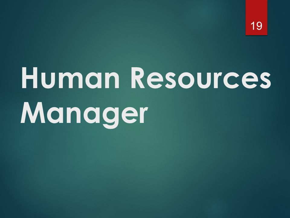Human Resources Manager 19
