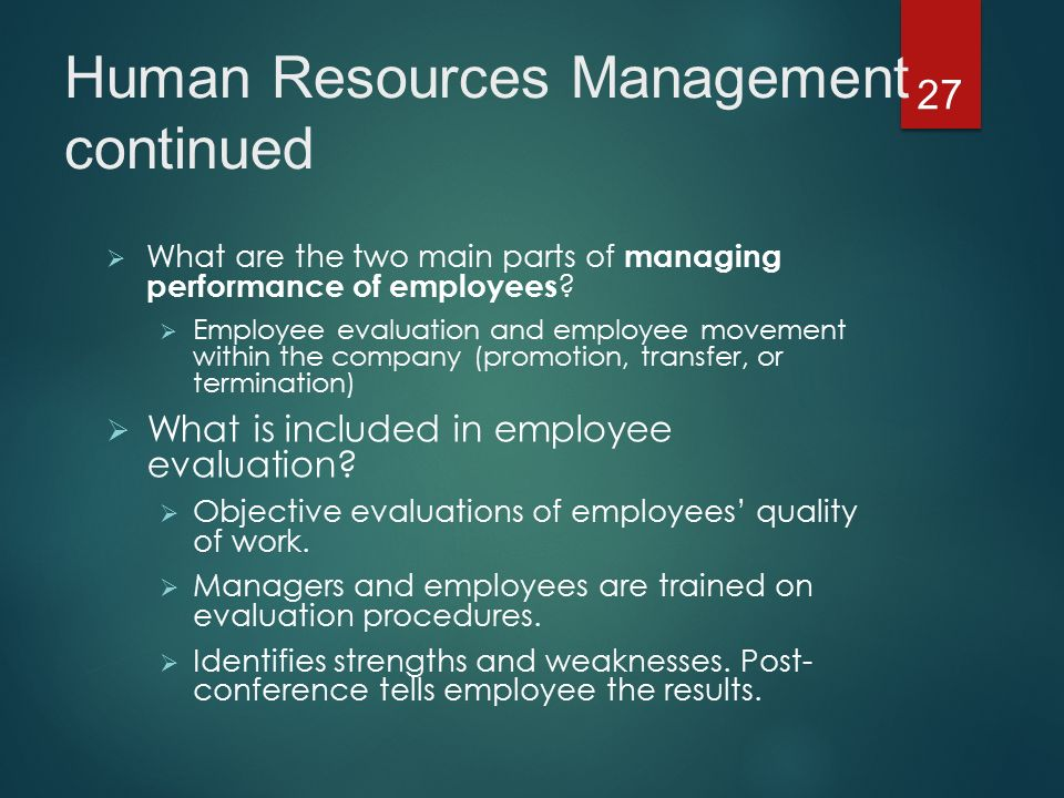 What are the two main parts of managing performance of employees .