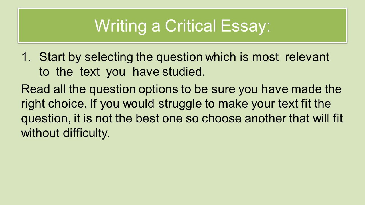 national 5 critical essay revision review understanding the writing a critical essay 1 start by selecting the question which is most relevant