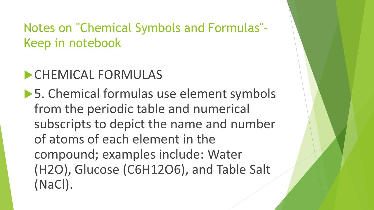 Science daily tasks week of through ppt download notes on chemical symbols and formulas keep in notebook chemical formulas 5 biocorpaavc Images