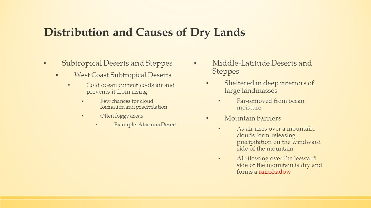 Deserts and Wind Chapter 19. Distribution and Causes of Dry Lands ...