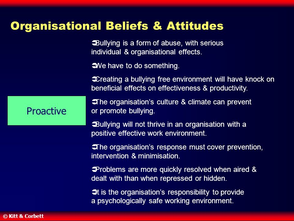 © Kitt & Corbett Organisational Beliefs & Attitudes  Bullying is a form of abuse, with serious individual & organisational effects.