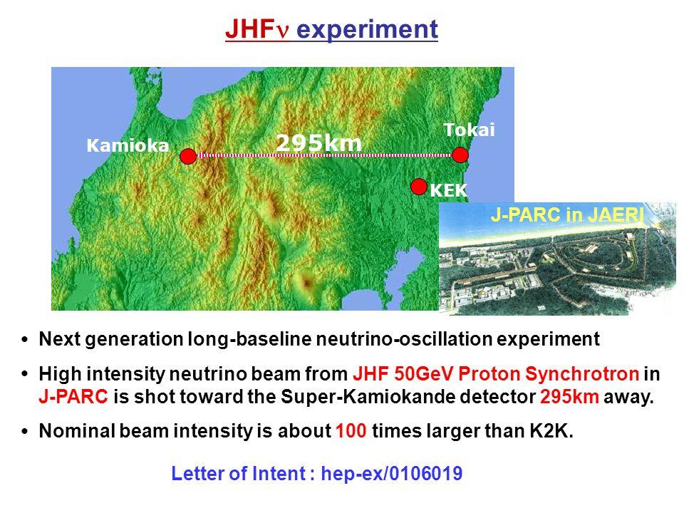 JHF experiment 295km KEK Kamioka Tokai ● Next generation long-baseline neutrino-oscillation experiment ● High intensity neutrino beam from JHF 50GeV Proton Synchrotron in J-PARC is shot toward the Super-Kamiokande detector 295km away.