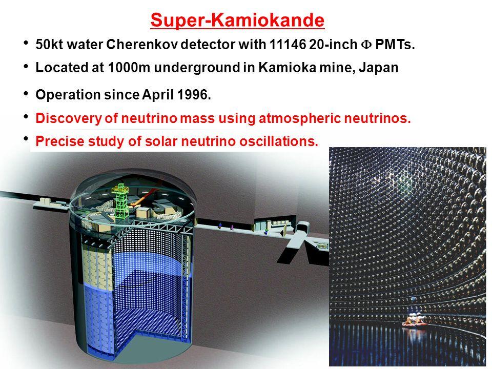 Super-Kamiokande ● 50kt water Cherenkov detector with 11146 20-inch  PMTs.