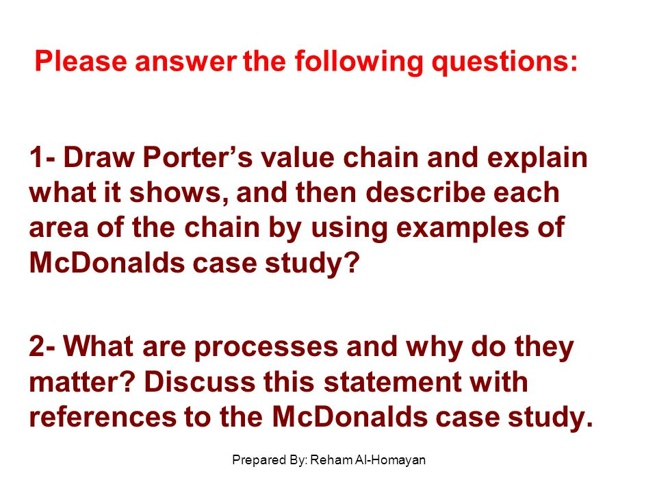 mcdonald s case study case 14 Mcdonalds case solution,mcdonalds case analysis, mcdonalds case study solution, no abstract is available for this product hide by john a quelch, kerry herman source: harvard business school 11 pages.