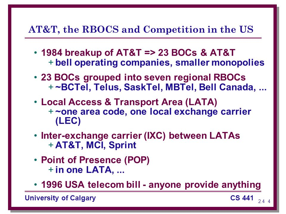 University Of CalgaryCS The Telephone System SS The - Telephone area codes usa