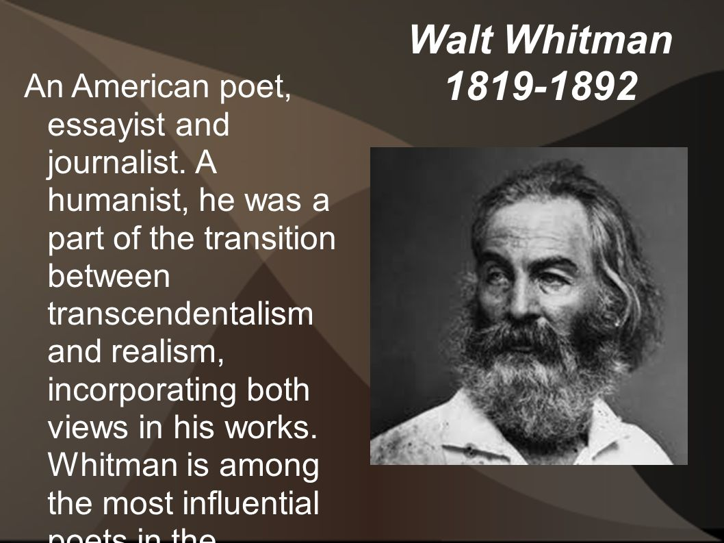 walt whitman essay [note: this biographical essay is excerpted from a longer essay included in the walt whitman hypertext archive at it is copyright © 1995, 1996, 1997, 1998 by kenneth m price and ed folsom.