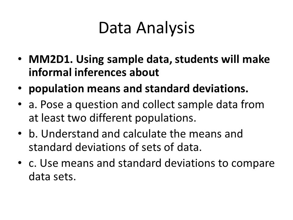 Data Analysis Student Text :Chapter 7. Data Analysis MM2D1. Using ...