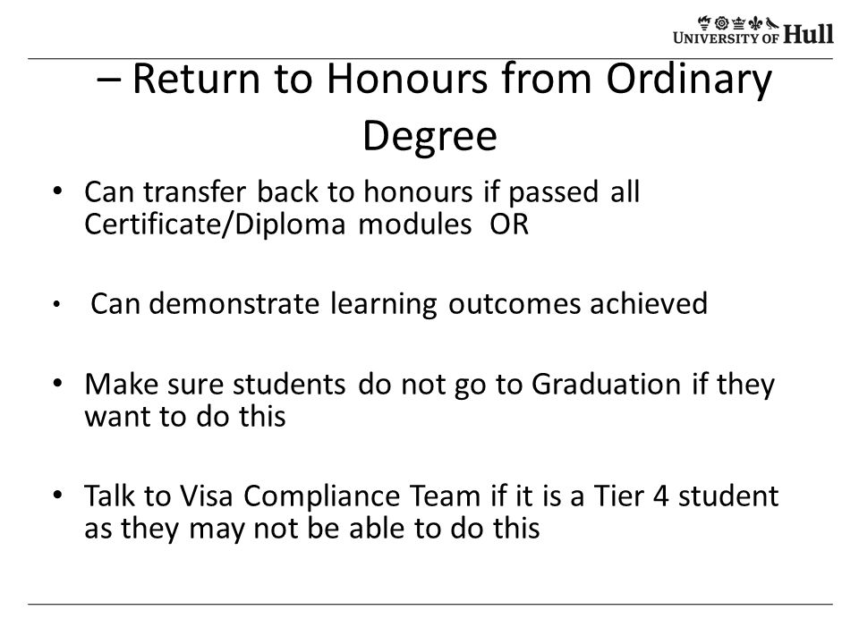 Ordinary Degree  Resume Incomplete Degree