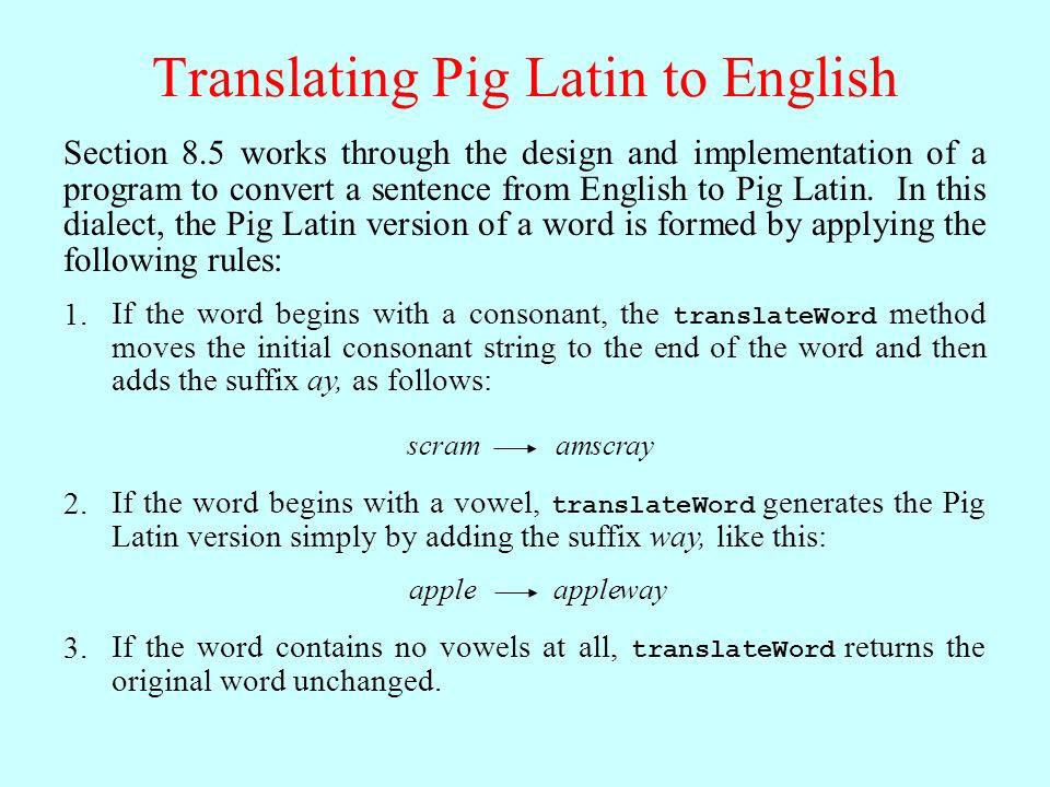 Pig Latin Translations