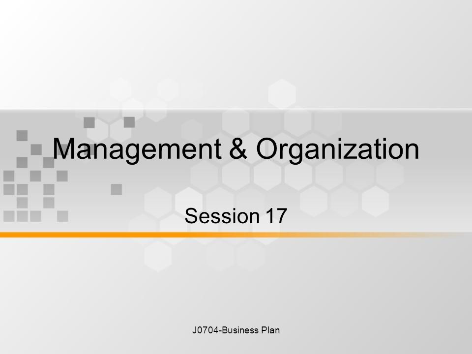Business plan organization and management