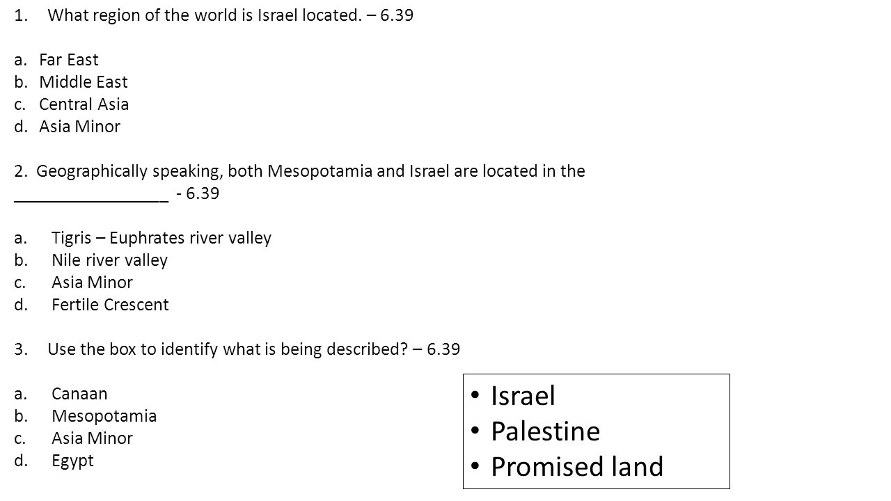 CFA Common Formative Assessment Standard Questions On A - Map of egypt mesopotamia and israel