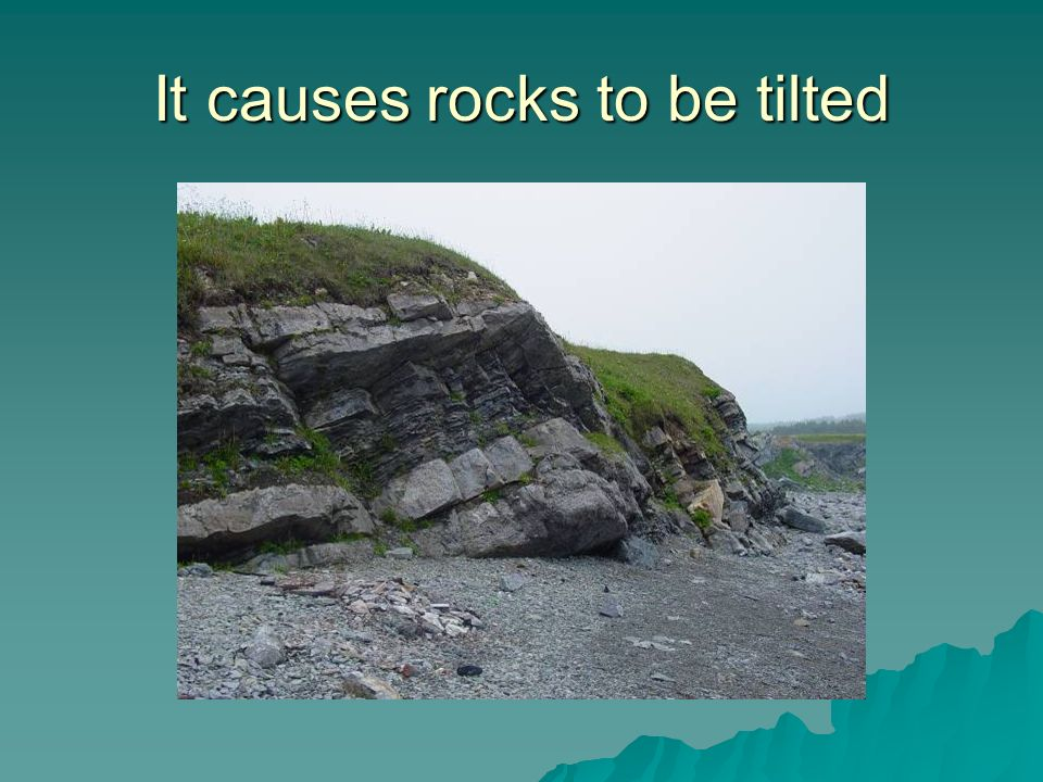 It causes rocks to be tilted