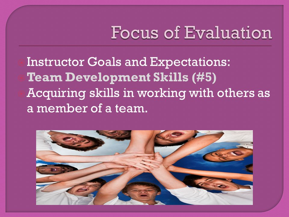  Instructor Goals and Expectations:  Team Development Skills (#5)  Acquiring skills in working with others as a member of a team.