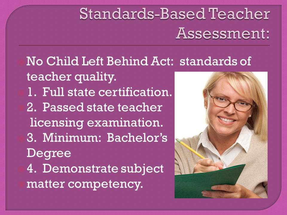  No Child Left Behind Act: standards of teacher quality.