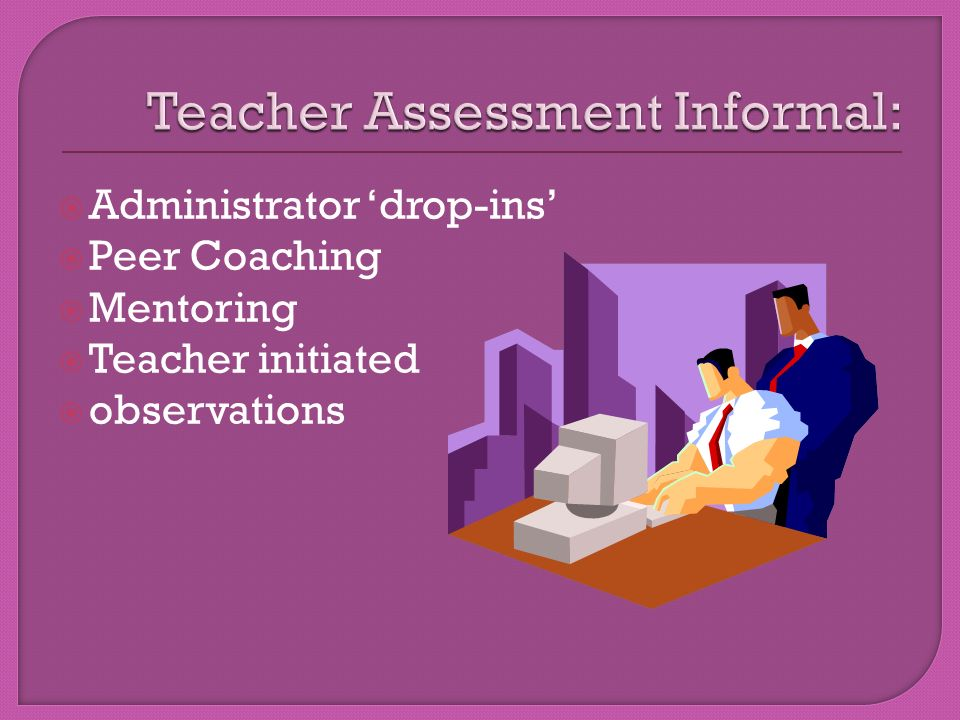  Administrator 'drop-ins'  Peer Coaching  Mentoring  Teacher initiated  observations