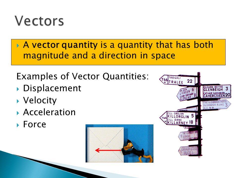 Vectors and Scalars.  A scalar quantity is a quantity that has ...