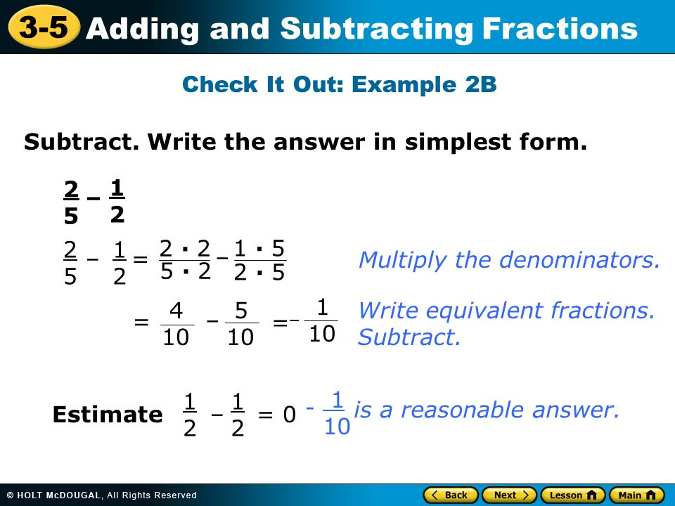 3-5 Adding and Subtracting Fractions Warm Up Warm Up Lesson ...