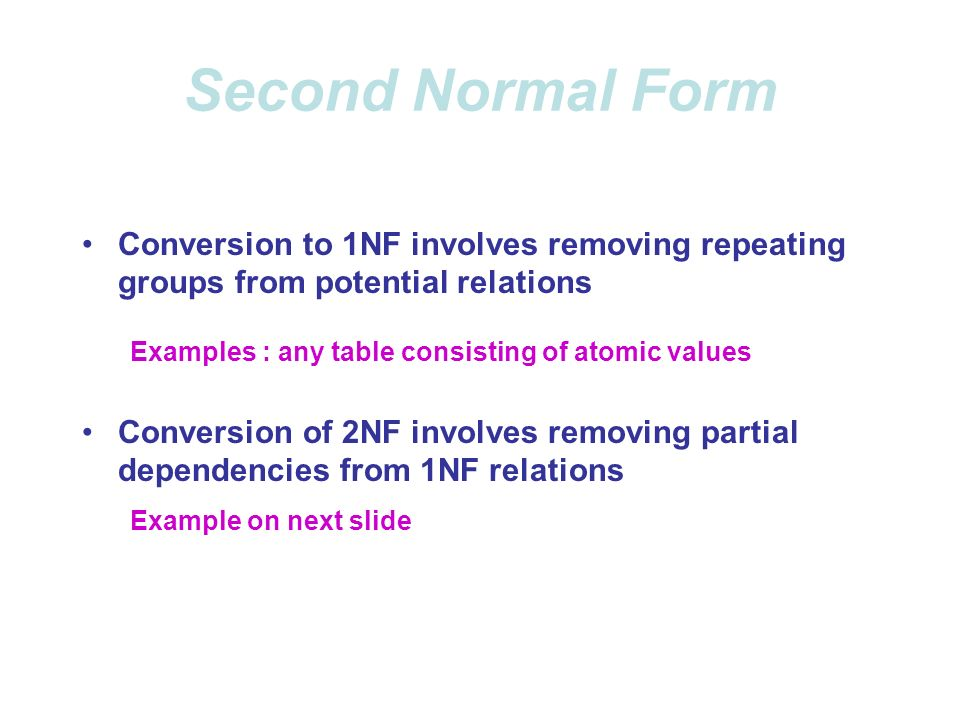 Normal Forms 1NF – A table that qualifies as a relation is in 1NF ...