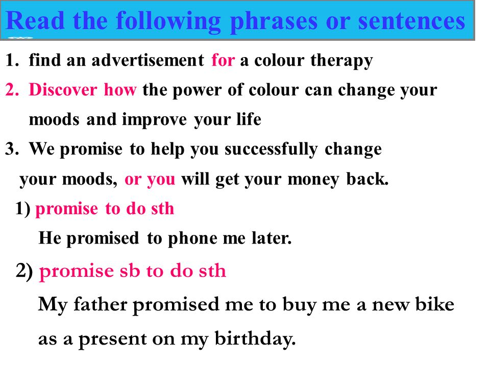 Read The Following Phrases Or Sentences 1find An Advertisement For A Colour Therapy 2