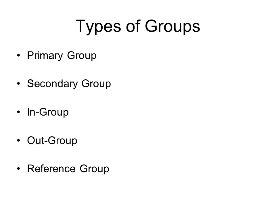 Types of Groups Primary Group Secondary Group In-Group Out-Group Reference Group