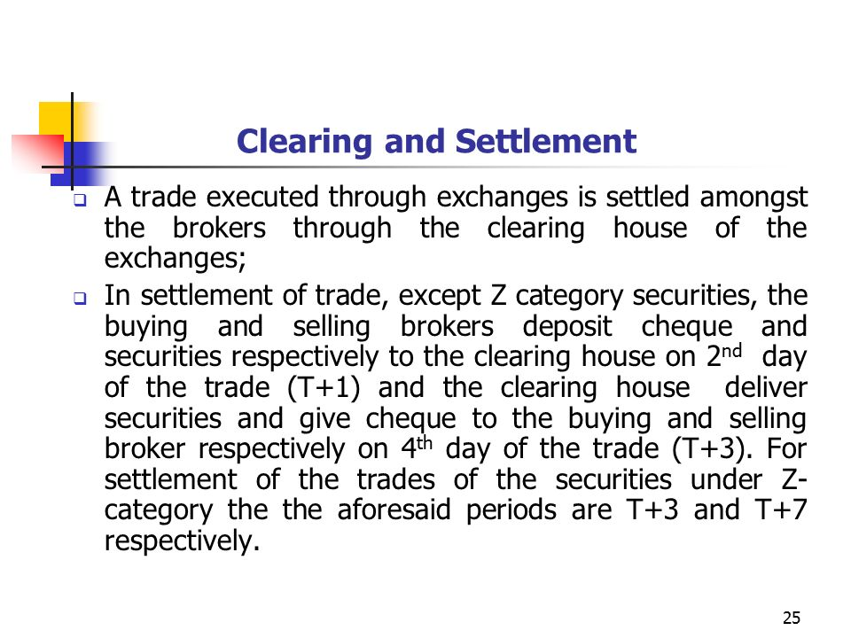25 Clearing and Settlement  A trade executed through exchanges is settled amongst the brokers through the clearing house of the exchanges;  In settlement of trade, except Z category securities, the buying and selling brokers deposit cheque and securities respectively to the clearing house on 2 nd day of the trade (T+1) and the clearing house deliver securities and give cheque to the buying and selling broker respectively on 4 th day of the trade (T+3).