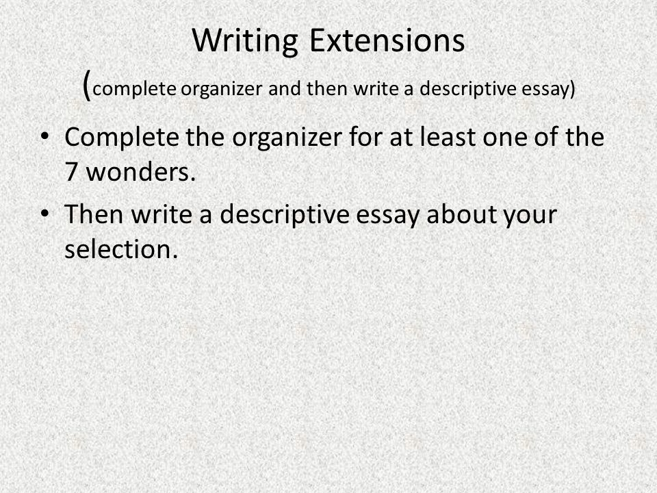 the wonders of the world panoramic views seven wonders of the writing extensions complete organizer and then write a descriptive essay complete the organizer for