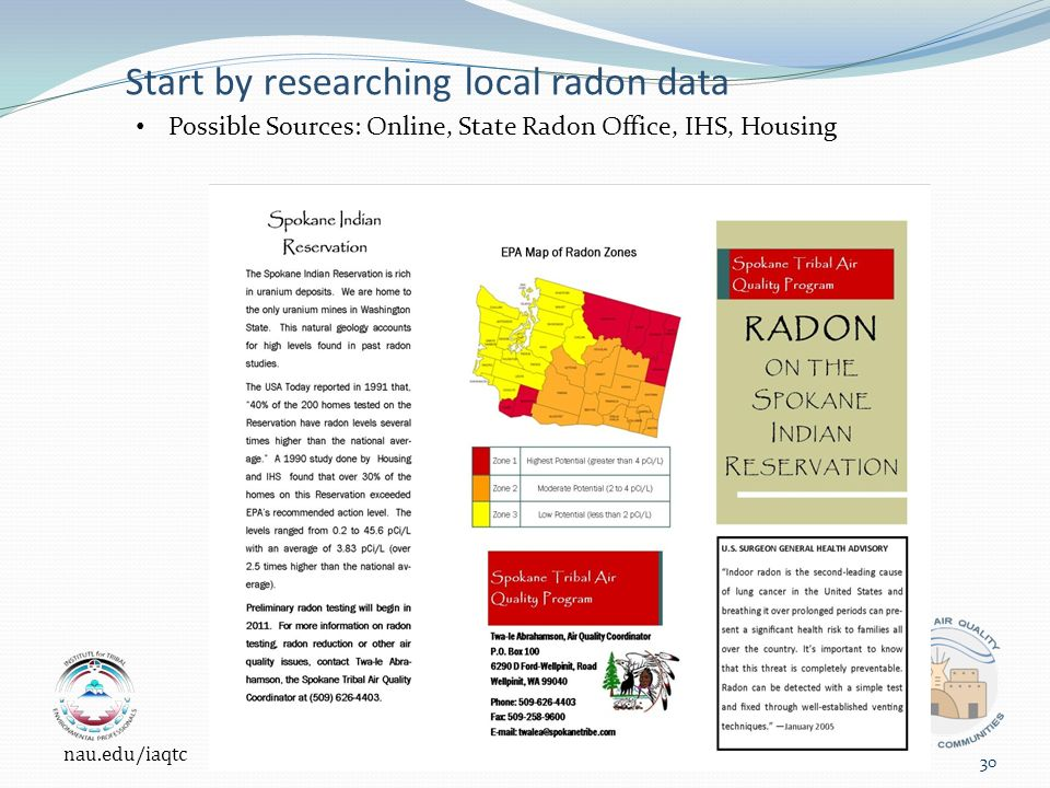 Start by researching local radon data Possible Sources: Online, State Radon Office, IHS, Housing nau.edu/iaqtc 30