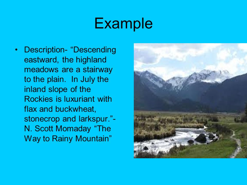 "the way to rainy mountain 50 essays Sean quigley ap english 2a 10/19/11 ""the way to rainy mountain"" comprehension: 1 the title of this essay is the way to rainy mountainthe significance of this essays title is that when momaday was returning to rainy mountain to visit his grandmother's grave, he begins recall memories of his grandmother."