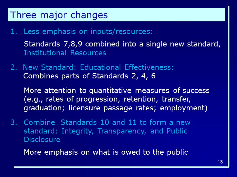 13 1.Less emphasis on inputs/resources: Standards 7,8,9 combined into a single new standard, Institutional Resources 2.