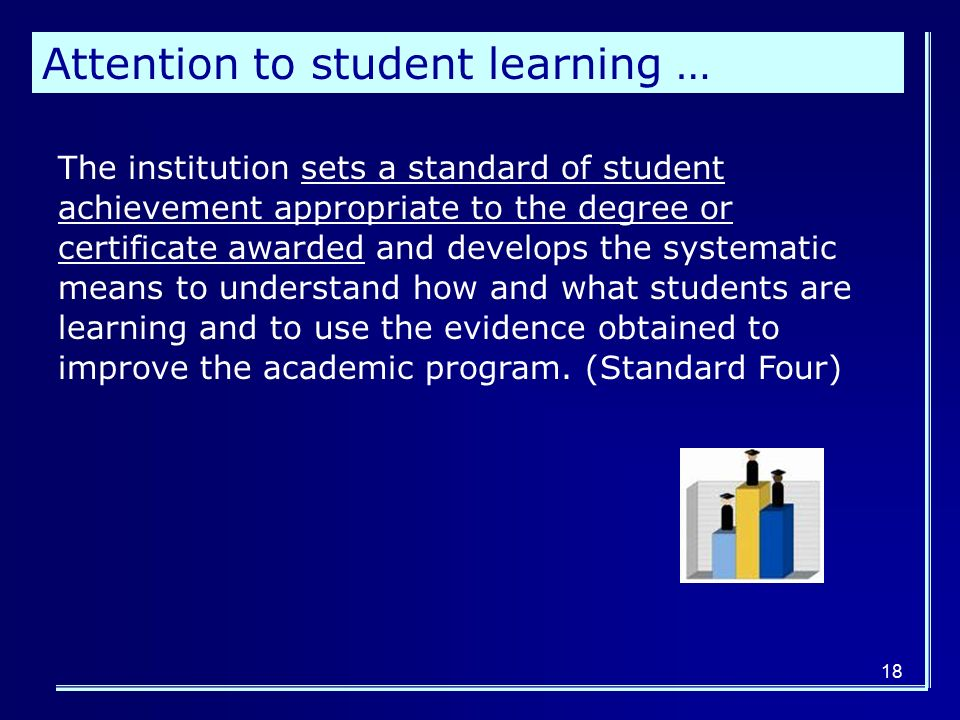 18 Attention to student learning … The institution sets a standard of student achievement appropriate to the degree or certificate awarded and develops the systematic means to understand how and what students are learning and to use the evidence obtained to improve the academic program.