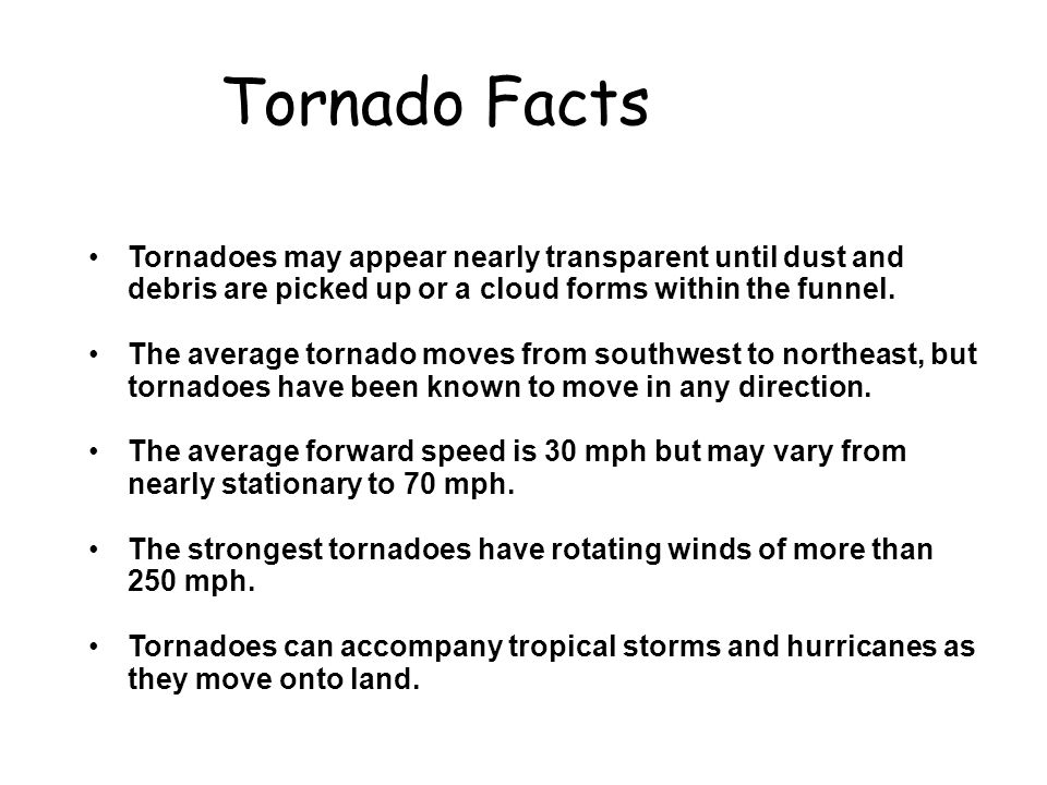 Hurricanes and tornadoes facts