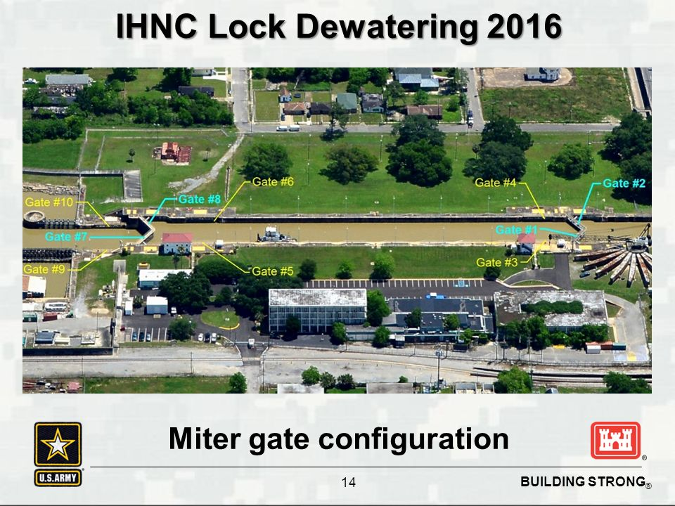 BUILDING STRONG ® IHNC Lock Dewatering 2016 Miter gate configuration 14