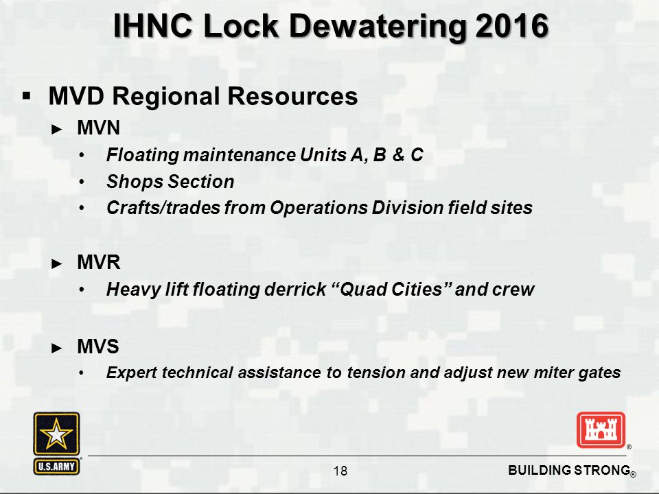 BUILDING STRONG ® IHNC Lock Dewatering 2016  MVD Regional Resources ► MVN Floating maintenance Units A, B & C Shops Section Crafts/trades from Operations Division field sites ► MVR Heavy lift floating derrick Quad Cities and crew ► MVS Expert technical assistance to tension and adjust new miter gates 18