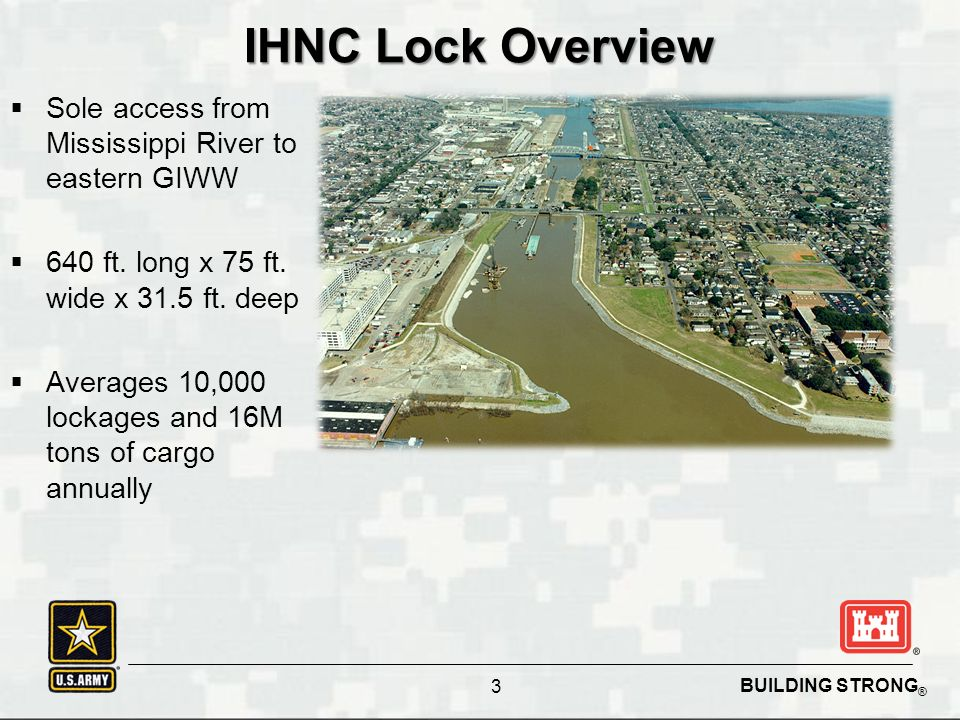 BUILDING STRONG ® IHNC Lock Overview  Sole access from Mississippi River to eastern GIWW  640 ft.
